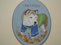 ペットロスの方がペットのリアルな似顔絵の注文(オーダー)前に見る作品~老犬(お名前入り)を立体感を出して描いた肖像画のグッズ
