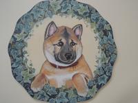 ペットロスの方がペットのリアルな似顔絵の注文(オーダー)前に見る作品~草花に囲まれた愛犬を立体感を出して描いた肖像画のグッズ
