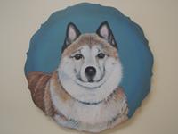ペットロスの方がペットのリアルな似顔絵の注文(オーダー)前に見る作品~元気な愛犬を立体感を出して描いた肖像画のグッズ