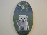 ペットロスの方がペットのリアルな似顔絵の注文(オーダー)前に見る作品~枝を咥えた元気な仔犬を立体感を出して描いた肖像画のグッズ