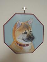 ペットロスの方がペットのリアルな似顔絵の注文(オーダー)前に見る作品~元気な仔犬を立体感を出して描いた肖像画のグッズ
