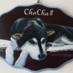 ペットロスの方がペットのリアルな似顔絵の注文(オーダー)前に見る作品~伏せをして待つ愛犬を立体感を出して描いた肖像画のグッズ